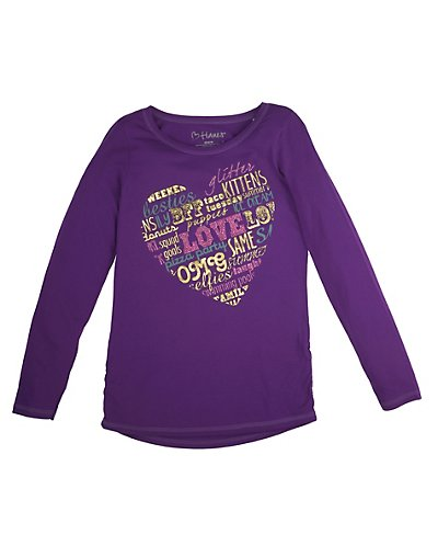 Hanes K368 Girl's Brushy Phrase Shirred Sideseam LS Tee