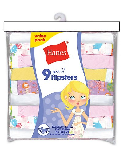 Hanes Girls' No Ride Up Cotton TAGLESS® Hipsters 9-Pack - HPP9AS