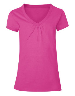 Hanes Girls' Shirred V-Neck Tee youth Hanes