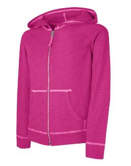Hanes Girls' Slub Jersey Full-Zip Hoodie youth Hanes