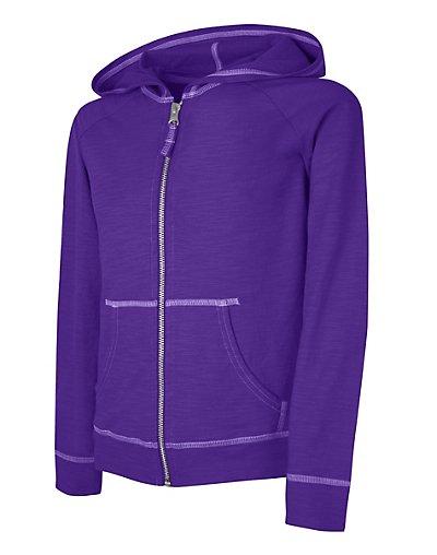 Hanes Girls' Slub Jersey Full-Zip Hoodie - K208