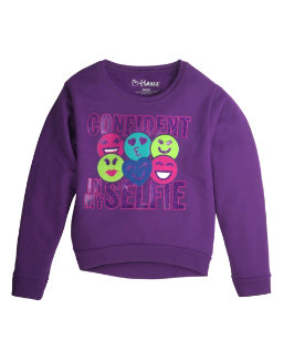 Girl's Hi-Low Crew Sweatshirt youth Hanes