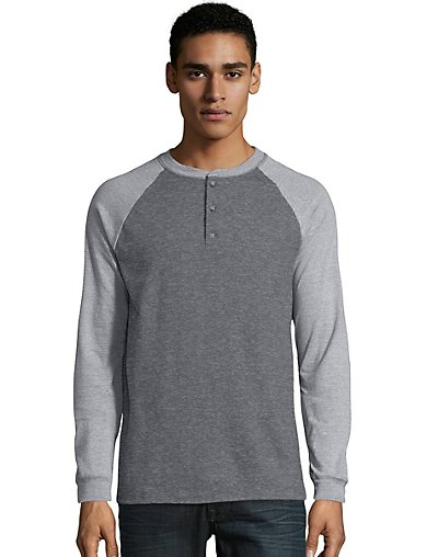 Hanes Men's Beefy-T Long-Sleeve Colorblock Henley - O5811