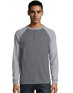 Hanes Men's Beefy-T Long-Sleeve Colorblock Henley men Hanes