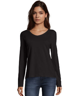 Hanes Women's Long-Sleeve V-Neck T-Shirt women Hanes