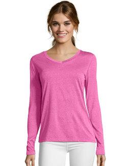 Hanes Sport™ Cool DRI® Women's Performance Long-Sleeve V-Neck T-Shirt women Hanes