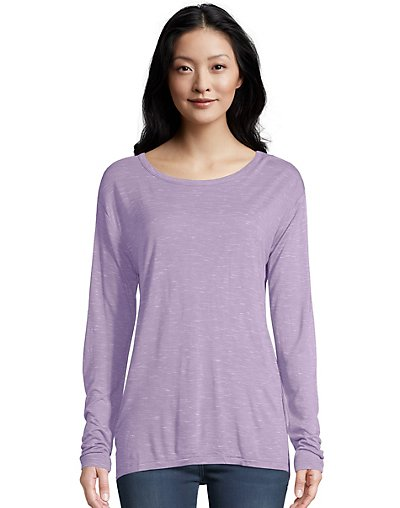 Hanes Women's Long Sleeve top with Center Back Lace Detail O9349