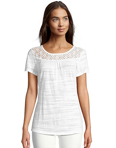 Hanes Women's Peasant Top with Lace Trim O9350