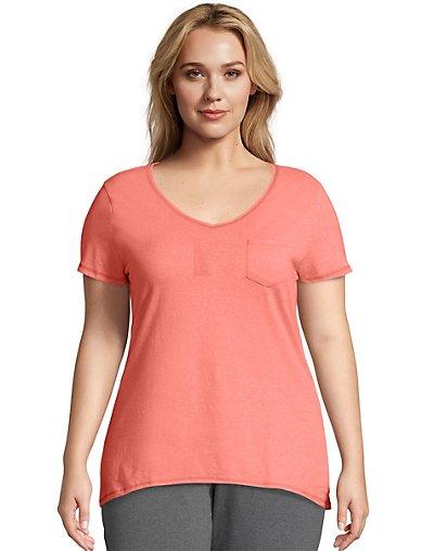 J M S OJ225 Just My Size X-Temp® Short-Sleeve V-Neck Women's Pocket Tee