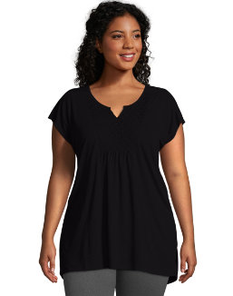 Just My Size Short-Sleeve Slub-Jersey Women's Tunic with Split V-Neck Crochet Bib Yoke women Just My Size