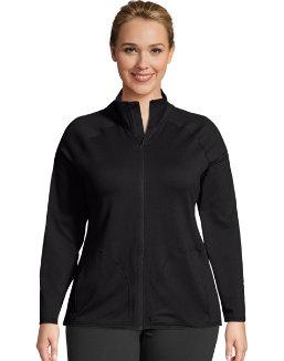 JMS Active Full Zip Mock Neck Jacket women Just My Size