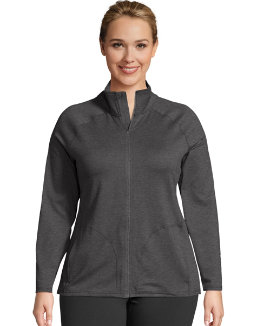 JMS Active Full Zip Mock Neck Jacket women Just My Size