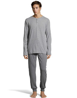Hanes Men's 1901 Heritage Striped Henley Crewneck and Jogger Pant Lounge Set men Hanes