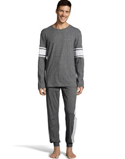Hanes Men's 1901 Heritage Striped Sleeve Crewneck and Jogger Pant Lounge Set men Hanes