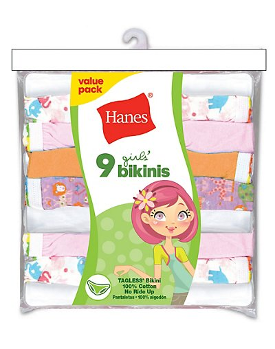 Hanes Girls' No Ride Up Cotton TAGLESS® Bikinis 9-Pack - P920BR