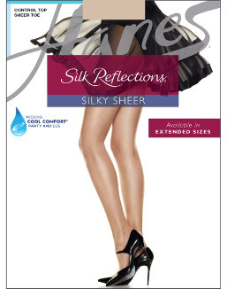 Hanes Silk Reflections Control Top Sheer Toe Pantyhose women Hanes