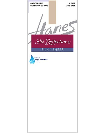 Hanes Silk Reflections Silky Sheer Knee Highs with Reinforced Toe 2-Pack - 00775