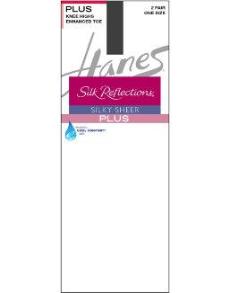 Hanes Silk Reflections Plus Knee Highs Enhanced Toe women Hanes