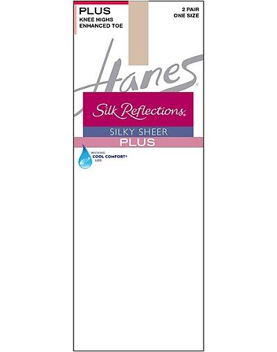 Hanes Silk Reflections Plus Knee Highs Enhanced Toe 2-Pack - 00P19