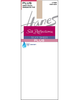 Hanes Silk Reflections Plus Knee Highs Enhanced Toe women Hanes