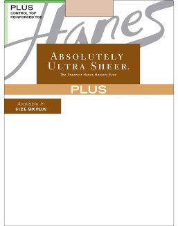 Hanes Plus Absolutely Ultra Sheer Control Top, Reinforced Toe Pantyhose women Hanes