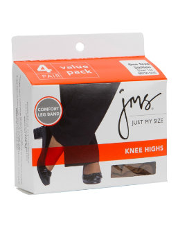JMS Sheer Toe Knee High 4 Pack women Just My Size