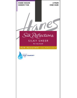 Hanes Silk Reflections Silky Sheer No-Slip Band Knee Highs with Run Resistant Technology 2-Pair Pack women Hanes