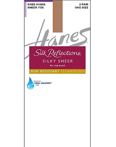 Hanes Silk Reflections Lasting Sheer Knee Highs with No Slip Band 2-Pack - 0A990