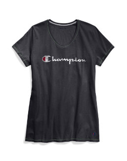 Champion Women Plus Jersey V-Neck Tee Graphic-Classic Script women Champion