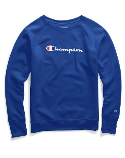 Champion Women Plus Powerblend Fleece Crew Graphic-2C Champion Script women Champion