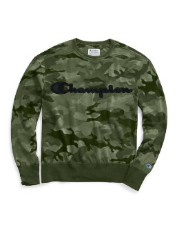 Champion Men's Vintage Dye Fleece Camo Crew, Felt Logo men Champion