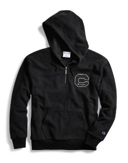 Champion Men's Heritage Sherpa Quarter Zip Hoodie, Felt Block C Logo men Champion