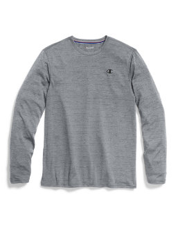 Champion Double Dry® Men's Heather Mesh-Texture Long-Sleeve Tee men Champion
