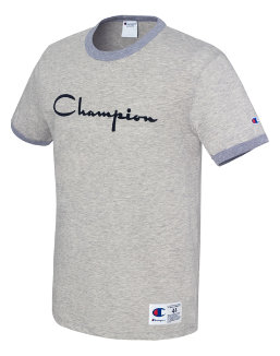Champion Men's Heritage Ringer Tee, Flocked Script Logo men Champion