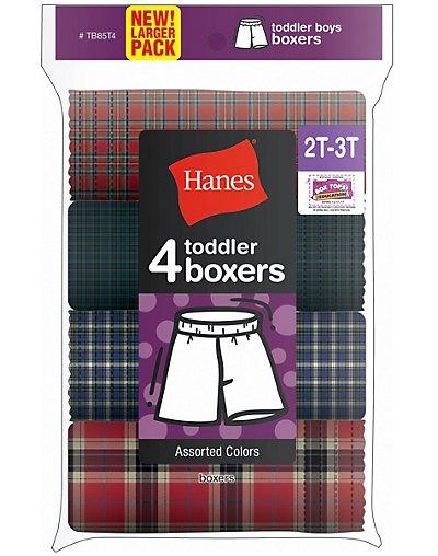 Hanes Toddler Boy's Tartan Boxer 4-Pack - TB85T4