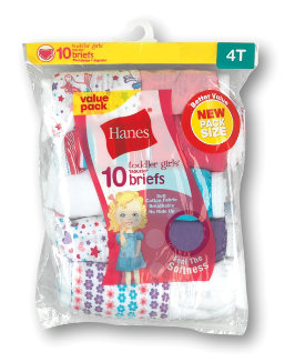 Hanes Toddler Girls' Cotton Briefs 10-Pack youth Hanes