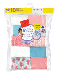 Hanes Toddler Girls' Briefs Cotton Hipsters 10-Pack youth Hanes