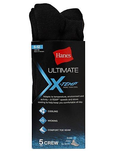 Hanes Men's Ultimate X-Temp™ Crew Socks - Black - U11_5