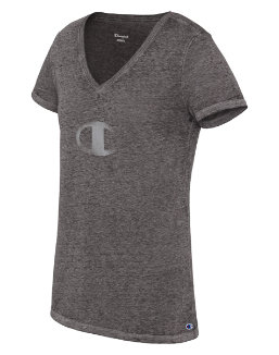 Champion Women's Authentic Wash V-Neck Tee, C Logo Burnout women Champion