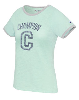 Champion Women's Heritage Ringer Tee-Big C women Champion