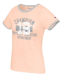 Champion Women's Heritage Ringer Tee-Classic Champion Phys Ed Dept women Champion