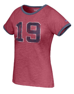 Champion Women's Heritage Ringer Tee-Big 19 women Champion