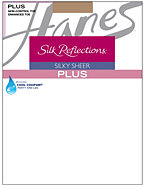 Hanes Silk Reflections Plus Sheer Non-Control Top Enhanced Toe Pantyhose 3-Pack