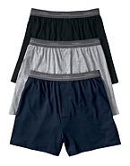 Hanes Boys' Solid Knit Boxer 3-Pack