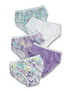 Hanes Girls' No Ride Up Cotton Low Rise Briefs 5-Pack
