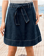Hanes Signature® Women's Belted Denim Skirt