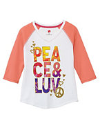 Girls' Peace and Luv Baseball Tee