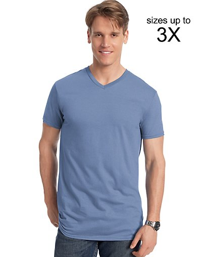 Hanes Men's Nano-T V-Neck T-Shirt Vintage Denim M