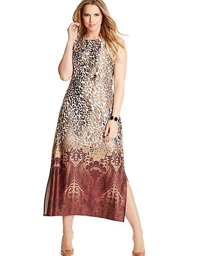 Just My Size Sleeveless Maxi Dress - Animal/Paisley Print