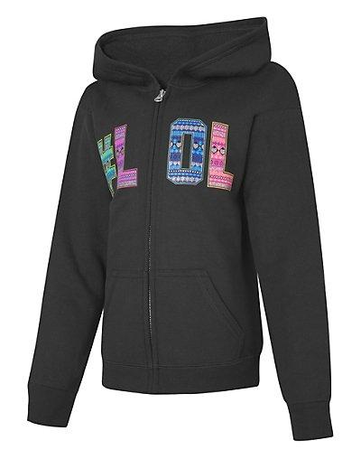 Hanes EcoSmart Girls' #LOL Full-Zip Hoodie Sweatshirt LOL/Bl